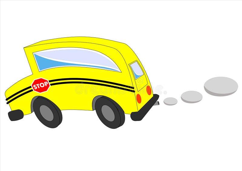 Isolamento commovente dello scuolabus su priorità bassa bianca illustrazione vettoriale