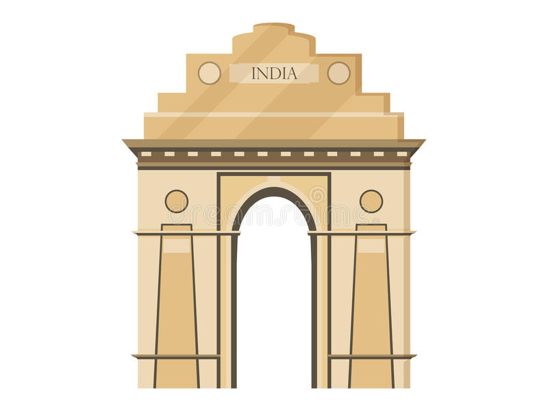 Isolamento da porta da Índia em um fundo branco Símbolo da Índia, Nova Deli Ilustração em um estilo liso ilustração do vetor