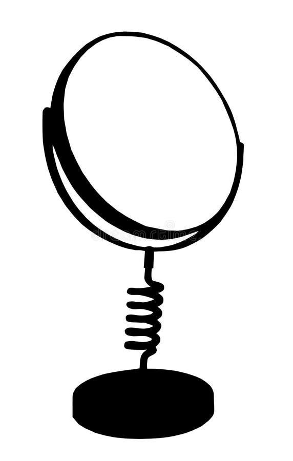 Isolamento della siluetta dello specchio della Tabella di preparazione illustrazione di stock