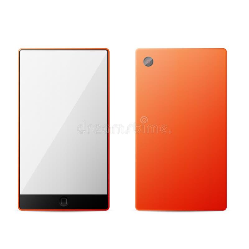 Isolamento esperto moderno perfeitamente detalhado do telefone da laranja ilustração royalty free