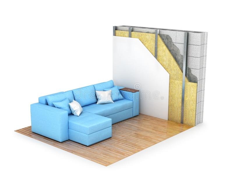 Isolamento termico Sezione trasversale della parete, interna con un sofà 3d illustrazione vettoriale