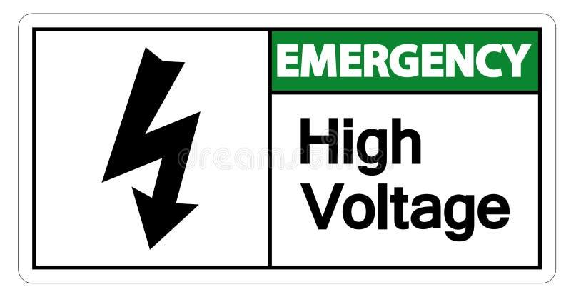 Isolat à haute tension de signe de secours sur le fond blanc, illustration de vecteur illustration de vecteur