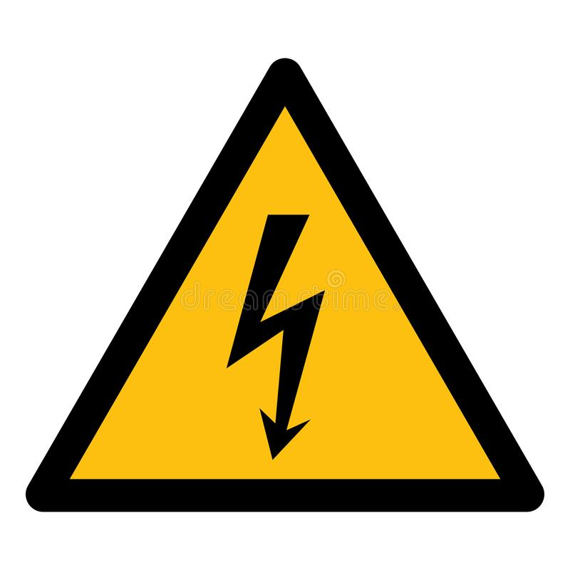 Isolat à haute tension de signe de symbole de danger sur le fond blanc, illustration ENV de vecteur 10 illustration libre de droits