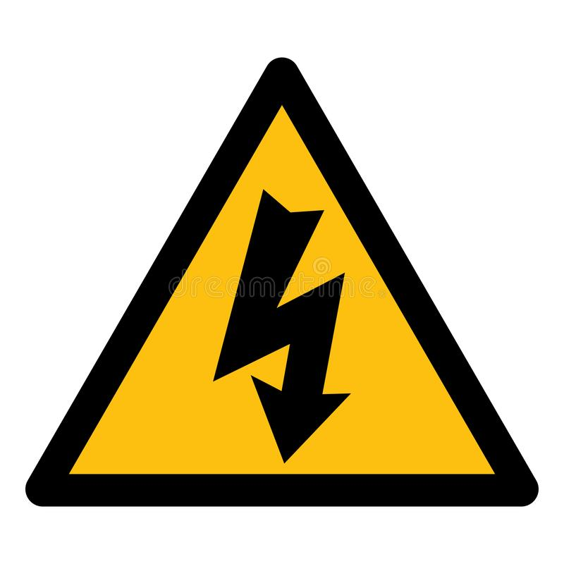 Isolat à haute tension de symbole de danger sur le fond blanc, illustration ENV de vecteur 10 illustration de vecteur