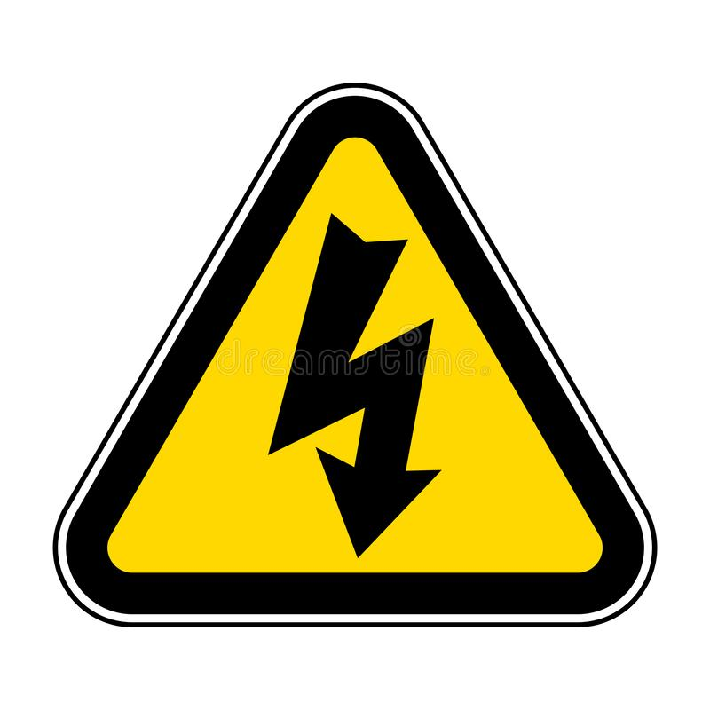Isolat à haute tension de symbole de danger sur le fond blanc, illustration ENV de vecteur 10 illustration stock