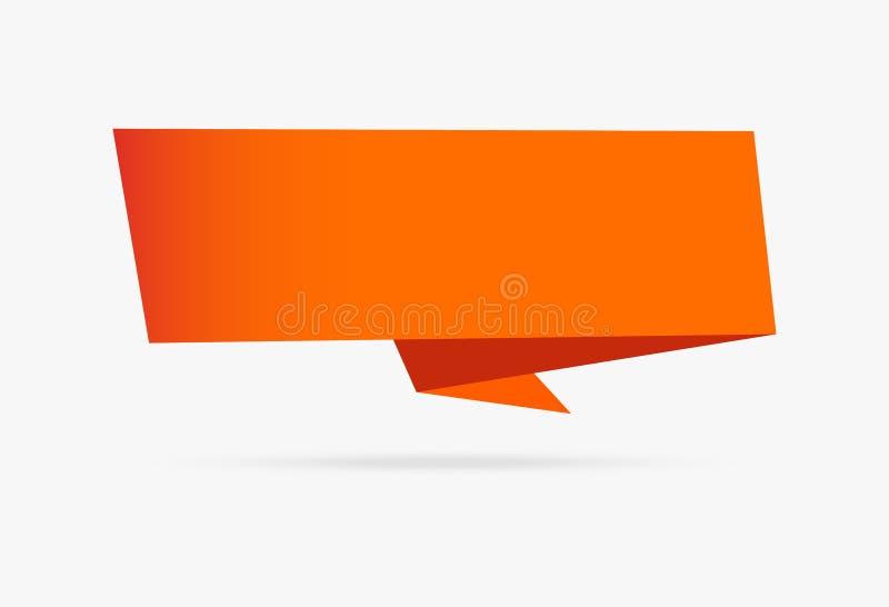 Isolat собрания оранжевой бумаги ленты origami знамени infographic иллюстрация штока