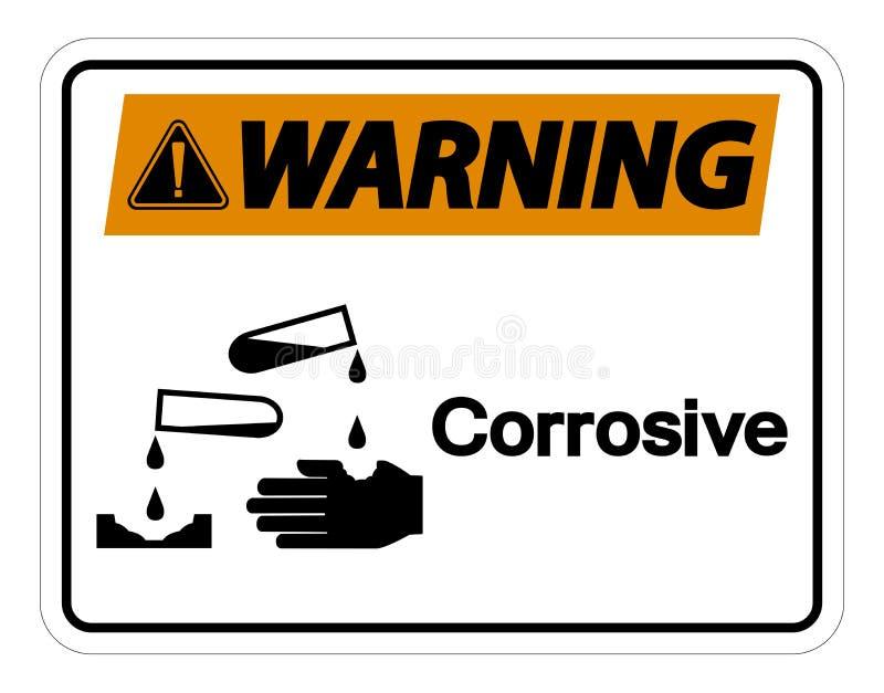 Isolat corrosif de avertissement de signe de symbole sur le fond blanc, illustration de vecteur illustration libre de droits