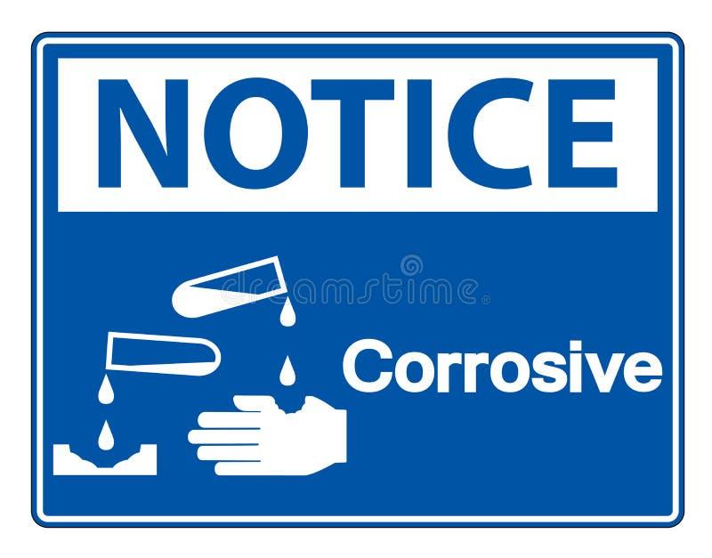 Isolat corrosif de signe de symbole d'avis sur le fond blanc, illustration de vecteur illustration de vecteur