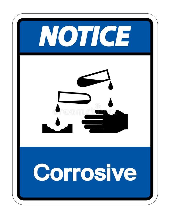 Isolat corrosif de signe de symbole d'avis sur le fond blanc, illustration de vecteur illustration libre de droits