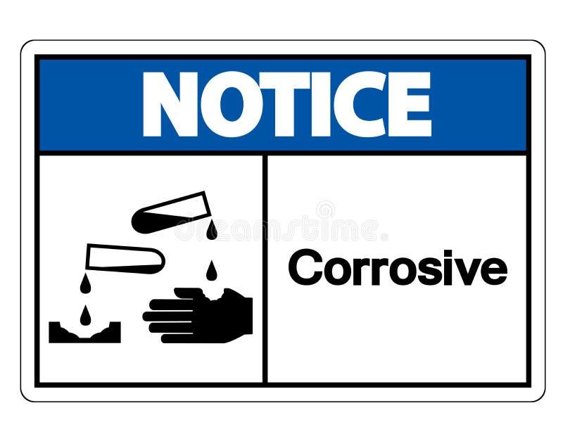 Isolat corrosif de signe de symbole d'avis sur le fond blanc, illustration de vecteur illustration stock