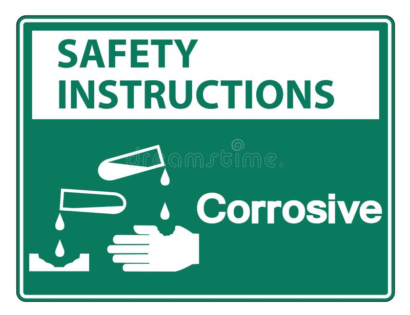 Isolat corrosif de signe de symbole d'instructions de sécurité sur le fond blanc, illustration de vecteur illustration stock