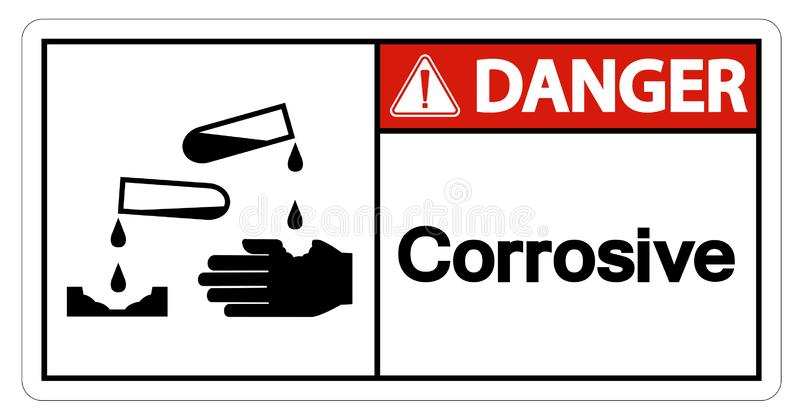 Isolat corrosif de signe de symbole de danger sur le fond blanc, illustration de vecteur illustration libre de droits