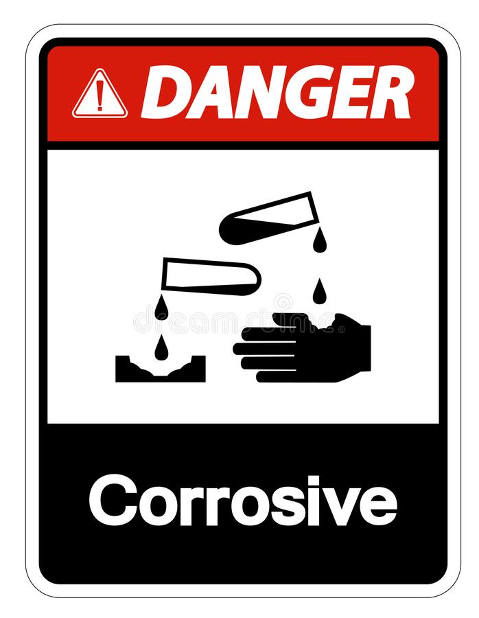 Isolat corrosif de signe de symbole de danger sur le fond blanc, illustration de vecteur illustration stock