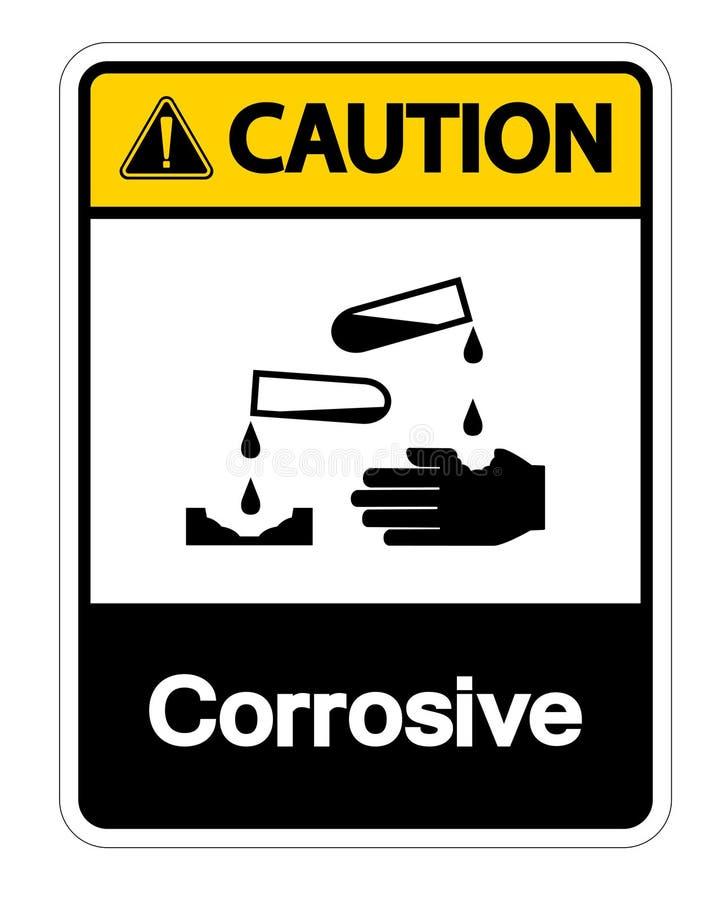 Isolat corrosif de signe de symbole de pr?caution sur le fond blanc, illustration de vecteur illustration de vecteur