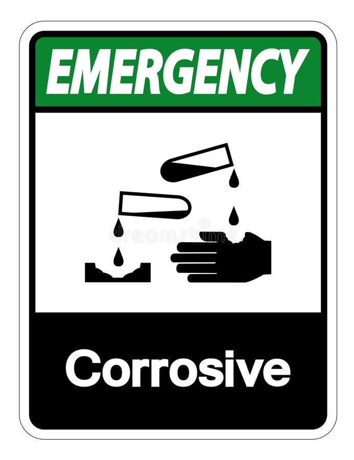 Isolat corrosif de signe de symbole de secours sur le fond blanc, illustration de vecteur illustration libre de droits