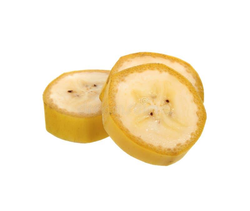 Isolat découpé en tranches par banane sur le fond blanc Vue supérieure images libres de droits