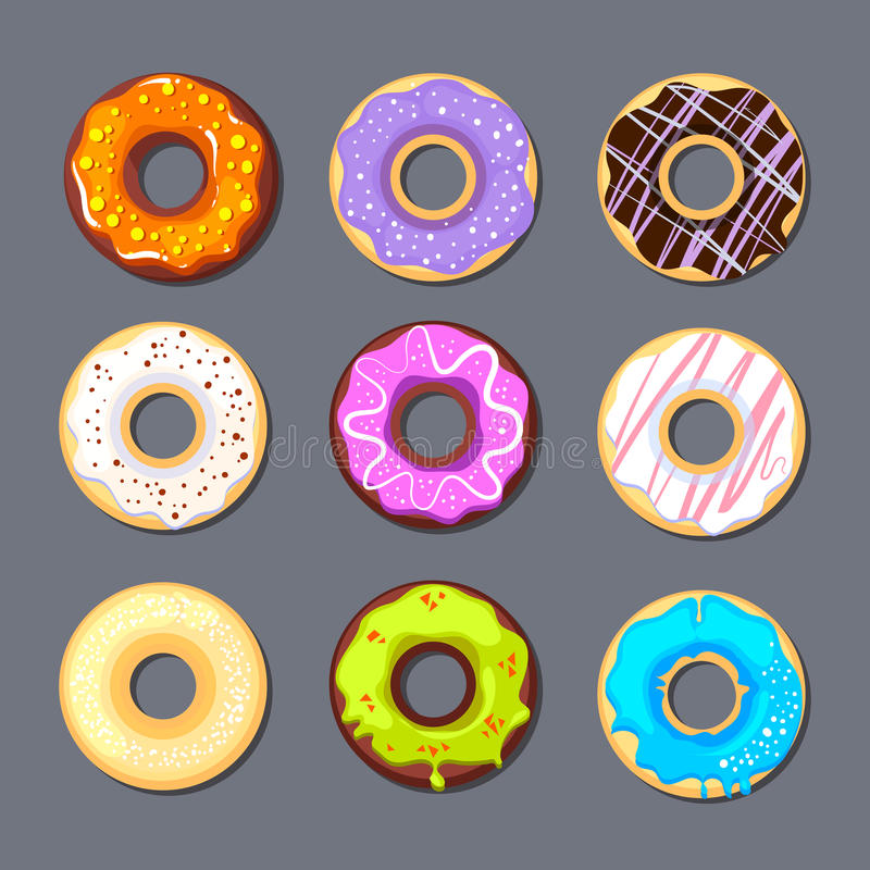 Isolat d'ensemble d'icône de beignet grand illustration stock