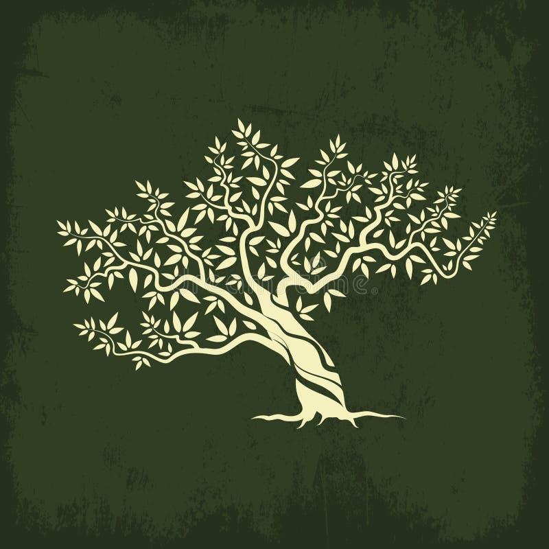 Isolat d'icône de silhouette d'olivier illustration de vecteur