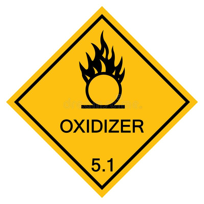 Isolat de avertissement de signe de symbole d'oxydant sur le fond blanc, illustration ENV de vecteur 10 illustration libre de droits