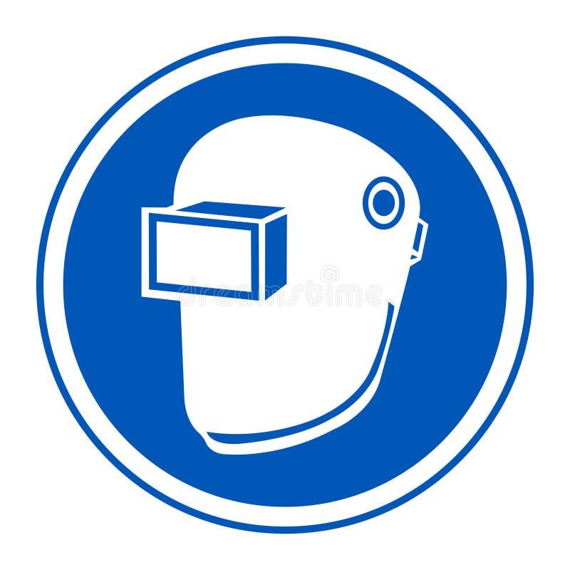 Isolat de casque de soudure d'usage de symbole sur le fond blanc, illustration ENV de vecteur 10 illustration libre de droits
