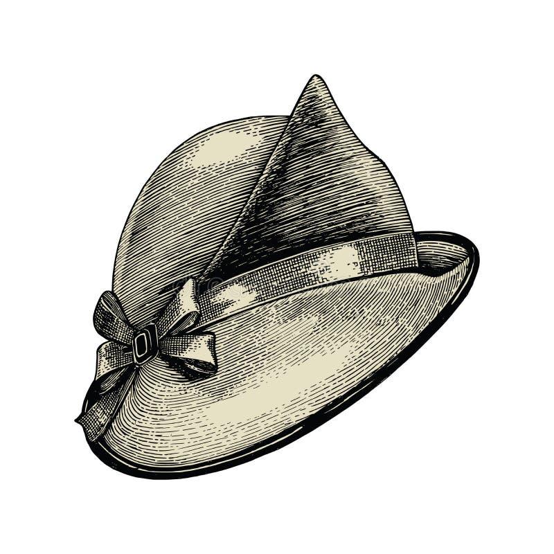 Isolat de dessin de main de mode de chapeau de vintage sur le fond blanc illustration stock