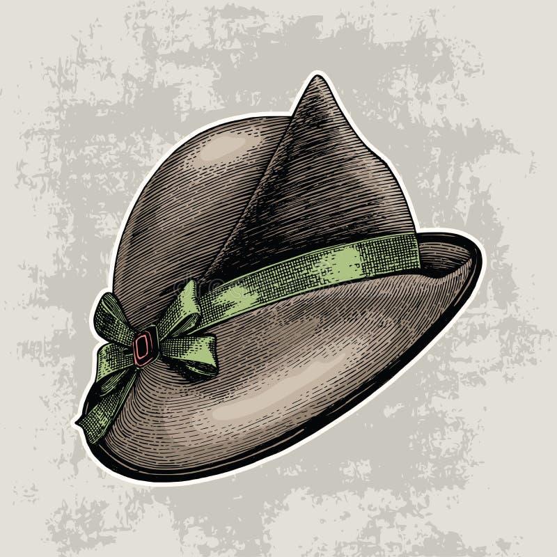 Isolat de dessin de main de mode de chapeau de vintage sur le fond grunge illustration stock