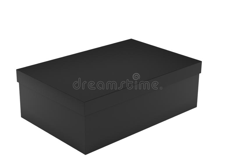 Isolat de empaquetage noir 3d de boîte rendre illustration libre de droits