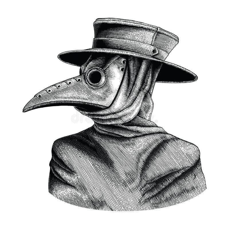 Isolat de gravure de vintage de dessin de main de docteur de peste sur le Ba blanc illustration de vecteur