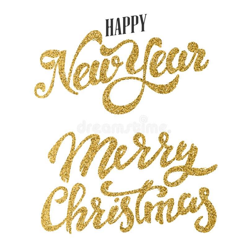 Isolat de las letras del brillo del oro de la Feliz Año Nuevo y de la Feliz Navidad stock de ilustración