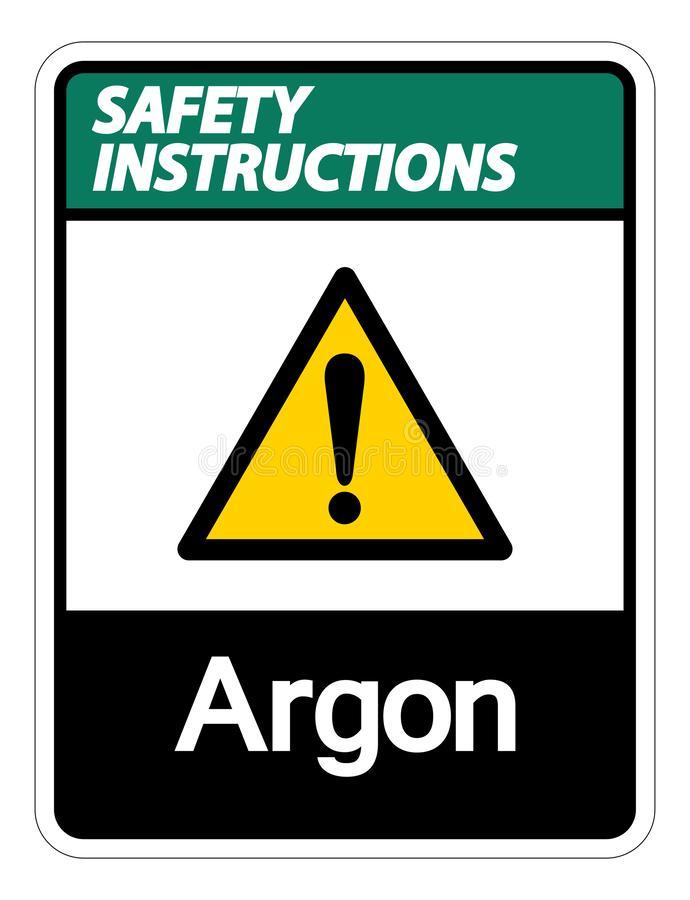 Isolat de signe de symbole d'argon d'instructions de sécurité sur le fond blanc, illustration de vecteur illustration stock