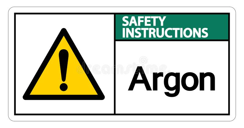 Isolat de signe de symbole d'argon d'instructions de sécurité sur le fond blanc, illustration de vecteur illustration de vecteur