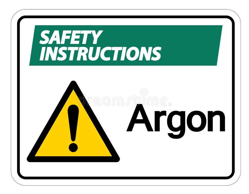 Isolat de signe de symbole d'argon d'instructions de sécurité sur le fond blanc, illustration de vecteur illustration stock