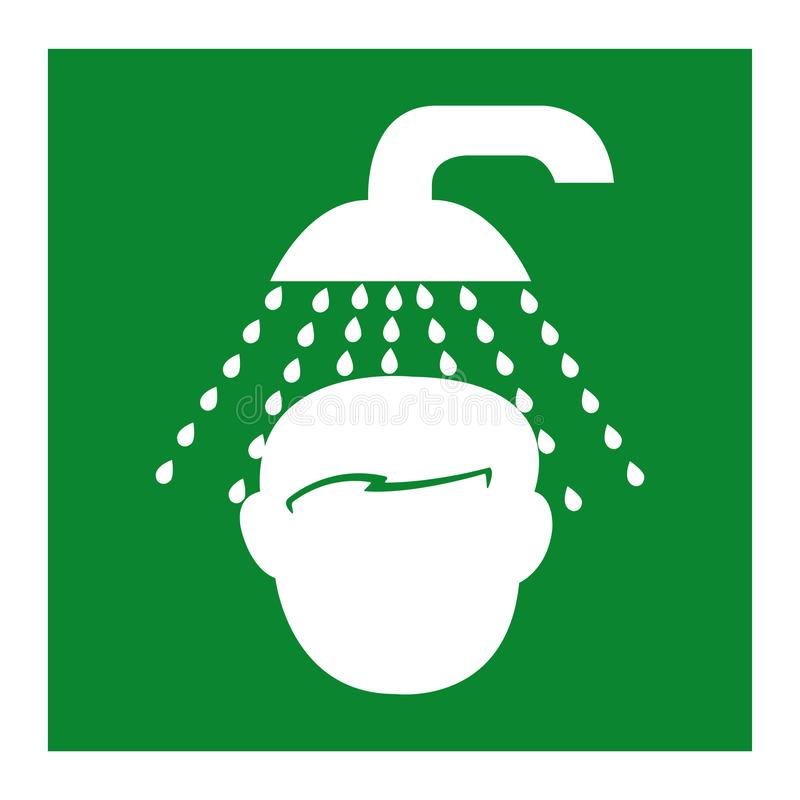 Isolat de symbole de douche de secours sur le fond blanc, illustration ENV de vecteur 10 illustration stock