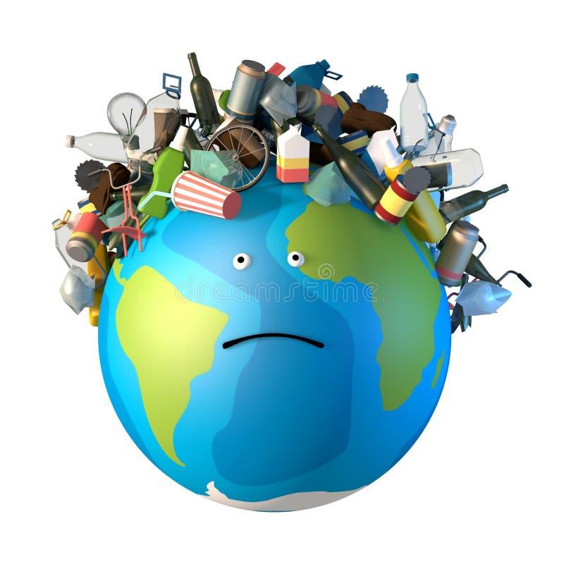 Isolat der Illustration 3d Auf traurigem Planeten liegt eine Erde ein Bündel Abfall in Form von Frisuren vektor abbildung