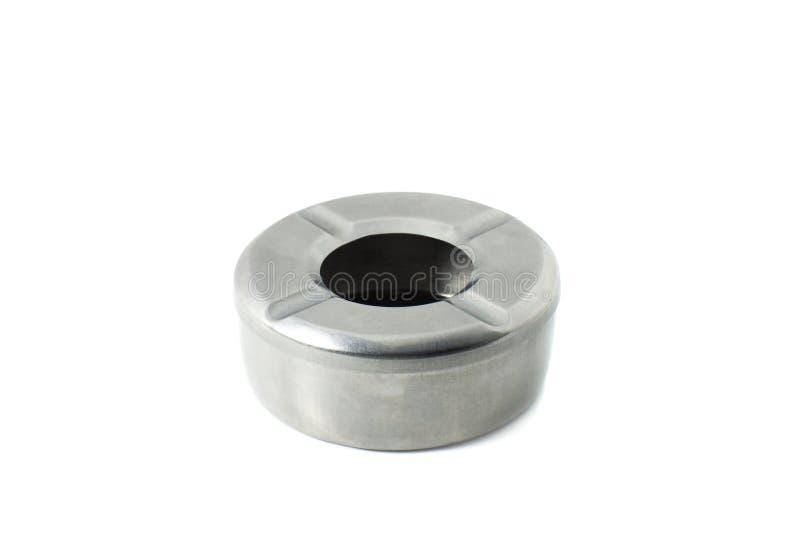 Isolat en acier de cendrier sur le fond blanc photo stock