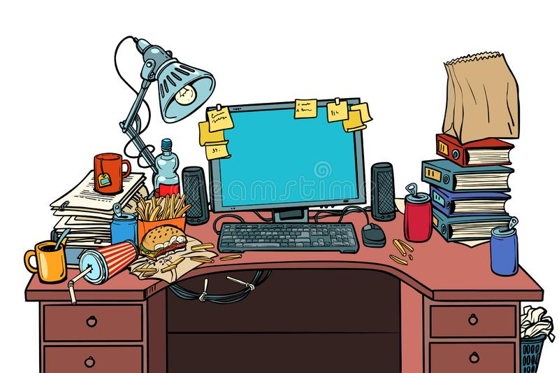 Isolat för arbetsplats för popkonst manlig på vit bakgrund royaltyfri illustrationer