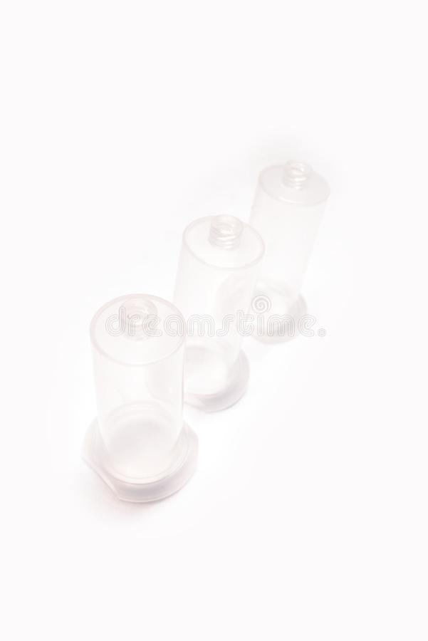 Isolat för hållare för visare för rör för vakuumblodsamling på vit bakgrund arkivfoto