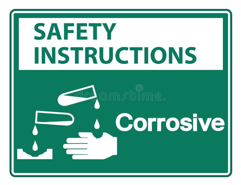 Isolat för tecken för symbol för säkerhetsanvisningar korrosiv på vit bakgrund, vektorillustration stock illustrationer