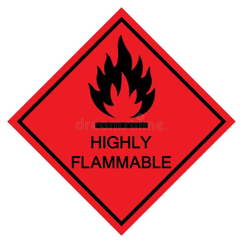 Isolat fortement inflammable de signe de symbole sur le fond blanc, illustration ENV de vecteur 10 illustration de vecteur