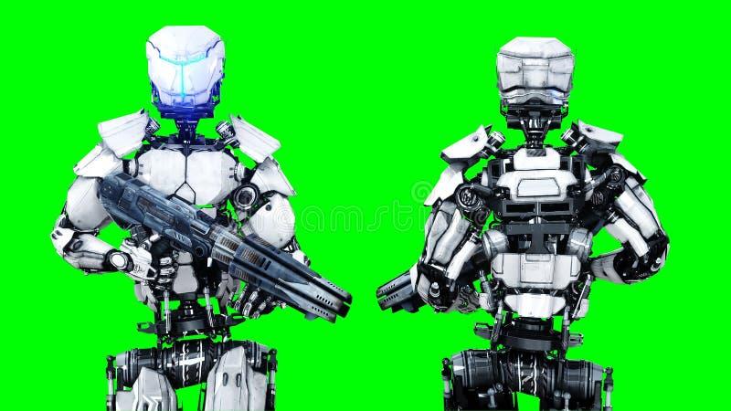 Isolat futuriste de robot sur l'écran vert 3d réalistes rendent illustration stock