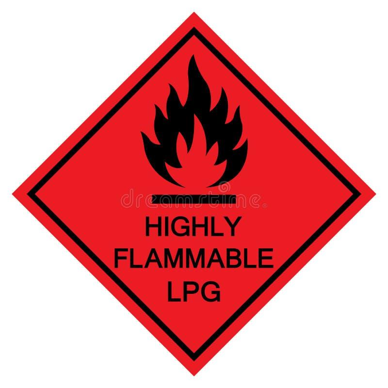 Isolat inflammable de signe de symbole de LPG sur le fond blanc, illustration ENV de vecteur 10 illustration de vecteur