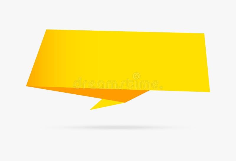 Isolat infographic della raccolta dell'insegna di origami della carta gialla del nastro illustrazione di stock