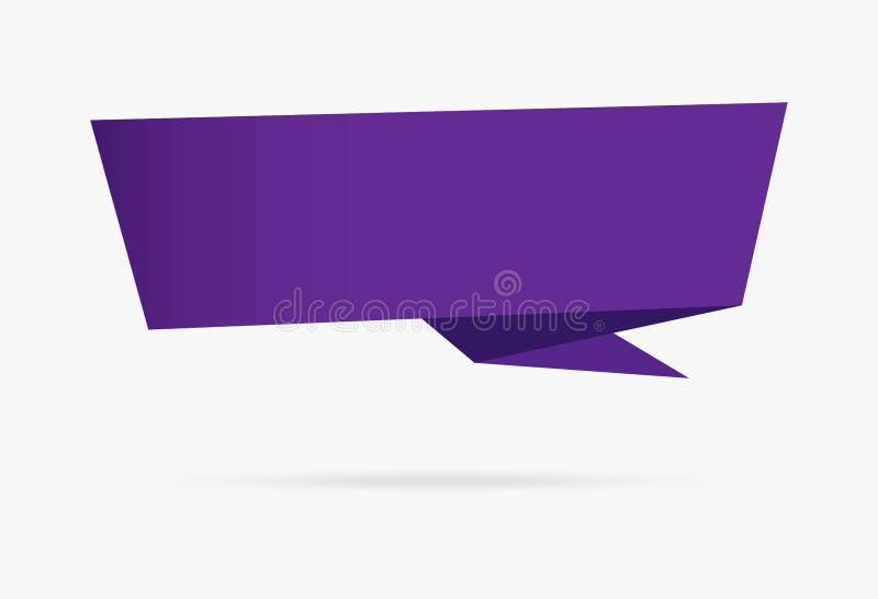 Isolat infographic della raccolta dell'insegna di origami della carta porpora del nastro illustrazione vettoriale