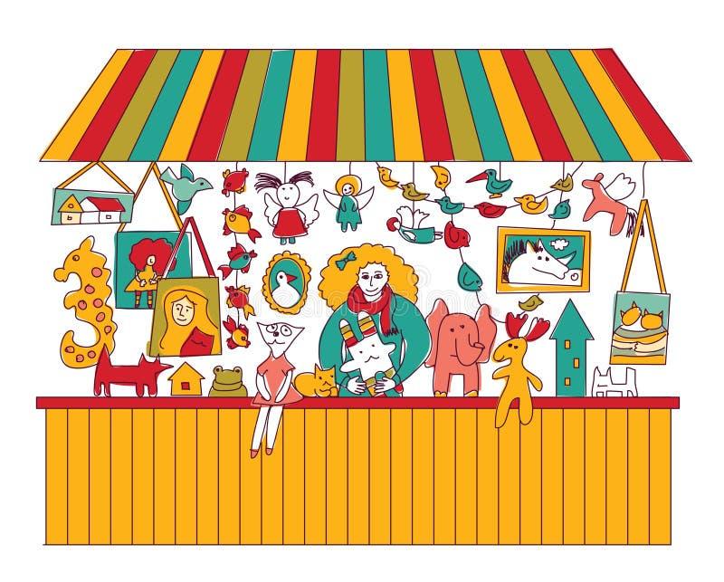 Isolat juste fabriqué à la main de vendeur de jouets d'art sur le blanc illustration stock