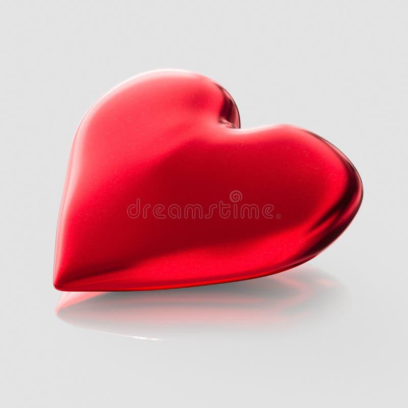 Isolat-Liebes-Herz auf einer nahtlosen und geringfügigen reflektierenden Oberfläche lizenzfreie abbildung