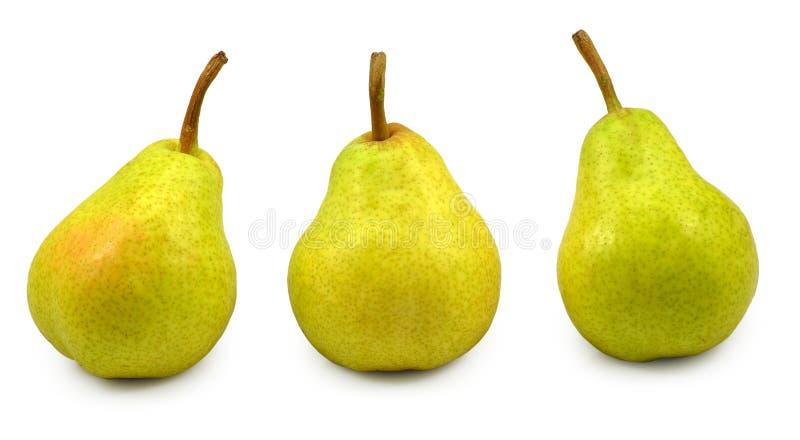 Isolat mit drei Birnen stockbilder