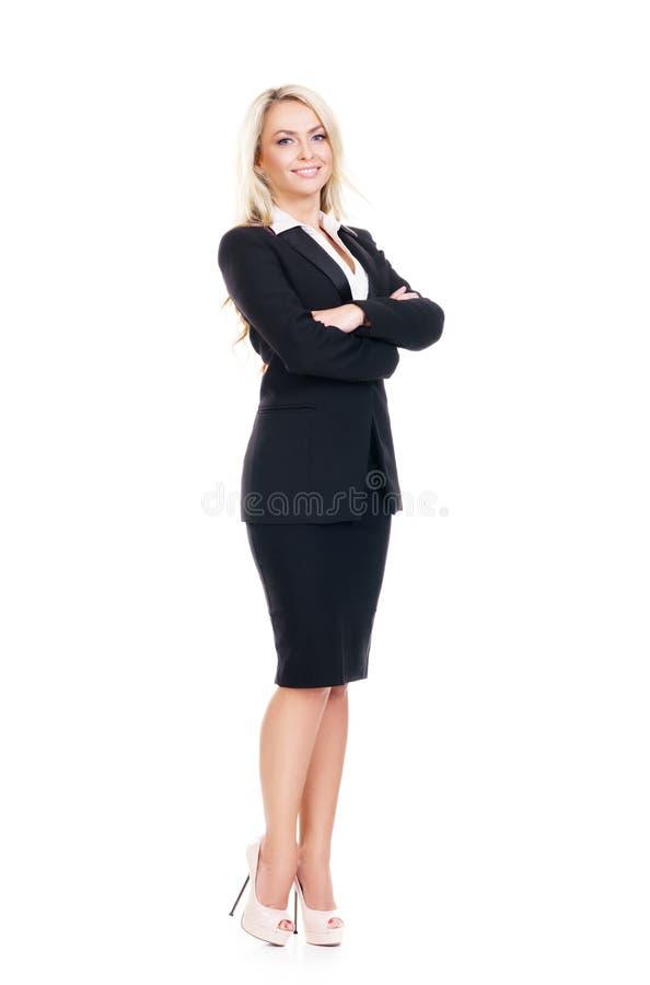 Isolat novo, seguro, bem sucedido e bonito da mulher de negócio fotografia de stock royalty free