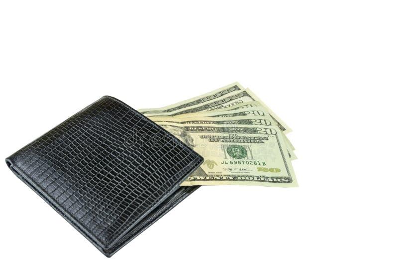 Isolat på en vit bakgrund En plånbok och räkningar för man` s Kassa amerikanska dollar arkivbild