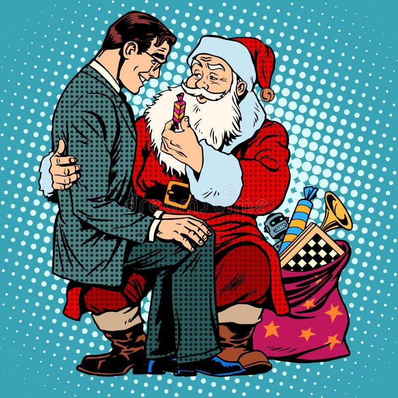 Isolat på vit Santa Claus och affärsman royaltyfri illustrationer