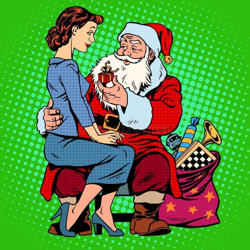Isolat på vit Santa Claus och en härlig flicka stock illustrationer